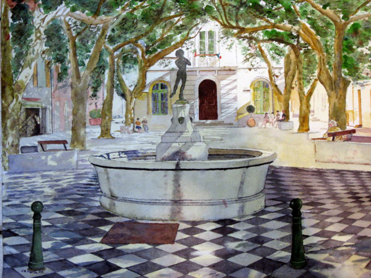 Fountain Square in a Provencal Village
